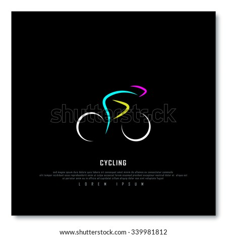 Cycling Biking Black Freehand Sketch Graphic Design Vector Illustration EPS10 - stock vector