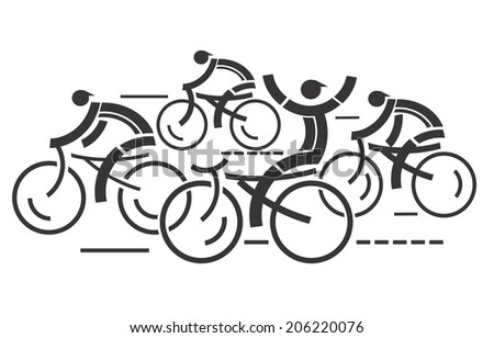 Cycling competition Four graphic styled racing cyclists.Vector illustration.