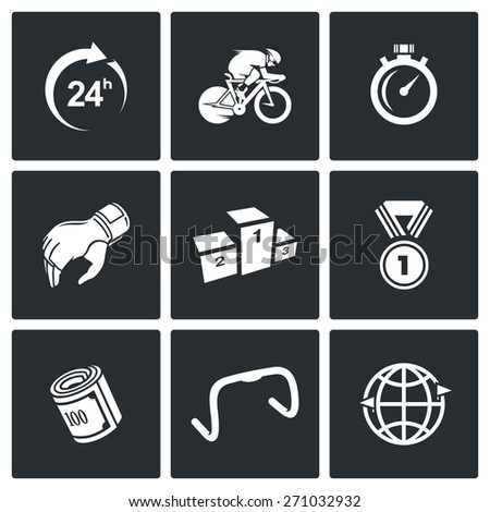 Cycling icons: around the clock, cyclist, record, glove, pedestal, medal, fee, racing steering wheel, Around the World. Vector Illustration. - stock vector