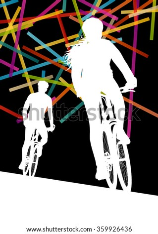 Cycling man and woman in  abstract sport vector concept background illustration - stock vector