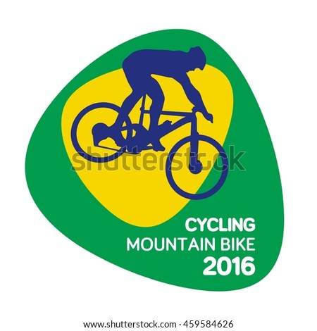 Cycling mountain bike icon, Rio icon, sport icon, vector illustration