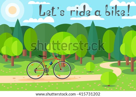 Cycling on a sunny day in the forest. Joy to ride a bike. Let's ride a bike! - stock vector