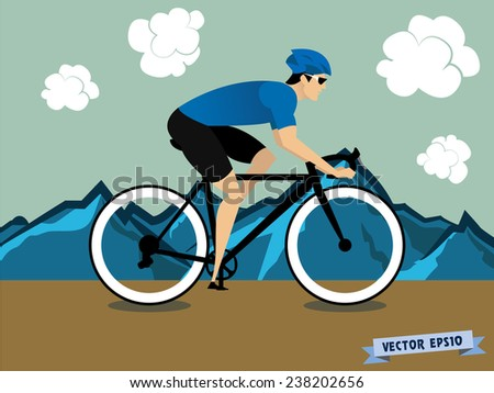 cycling on the mountain - stock vector