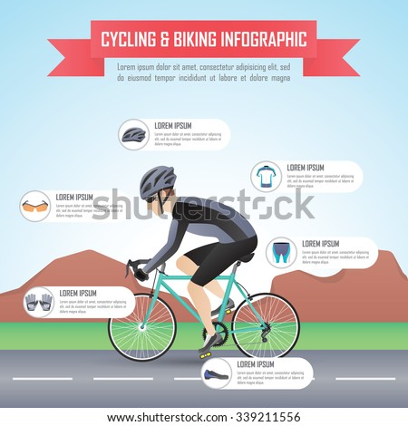 Cycling or biking infographic design template, VECTOR, EPS10 - stock vector