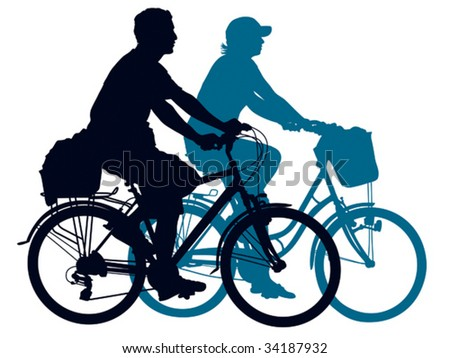 Cycling people on a summer trip. Vector illustration. - stock vector