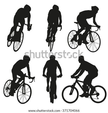 Cycling silhouettes, set of vector cyclist - stock vector