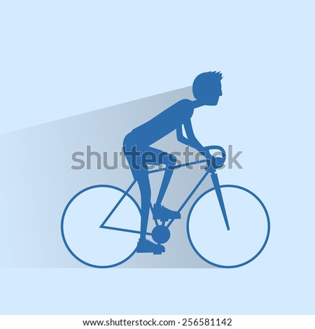 Cycling sport bicycle man silhouette, road bike rider flat vector illustration - stock vector