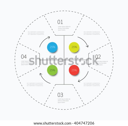 cycling vector graphic chart with arrows direction and 4 options / big infographic circle with many options - stock vector