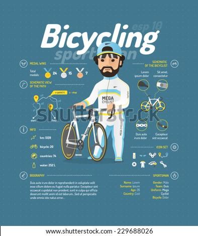Cycling vector illustration - stock vector