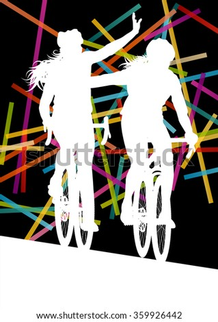 Cycling women in  abstract sport vector concept background illustration