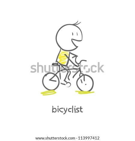 cyclist - stock vector