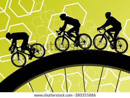 Cyclist active man bicycle riders in abstract sport landscape background illustration vector - stock vector