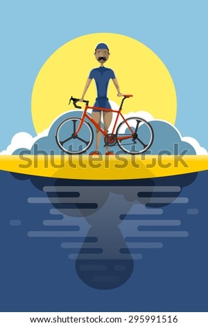 cyclist at the beach at sunset, vector illustration - stock vector
