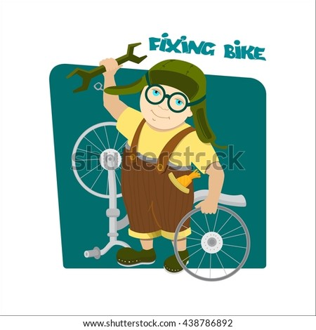 Cyclist boy. Guy in a brown overalls and a green helmet. Kid with a wrench and a disassembled bicycle.On a dark turquoise background. Fixing bike inscription. Vector Illustration