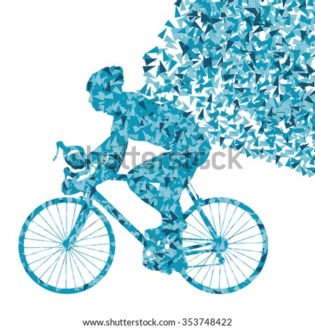 Cyclist cycling sport fast blue vector abstract background concept made of fragments isolated over white - stock vector