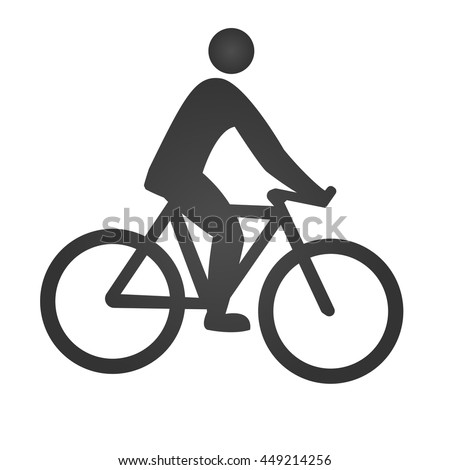 Cyclist icon. Simple flat logo of cyclist on white background. Silhouette of a cyclist. Vector illustration. - stock vector