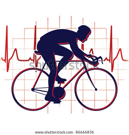 Cyclist icon vector - stock vector