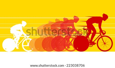 Cyclist in the bicycle race - stock vector
