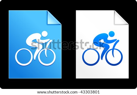 Cyclist on Paper Set Original Vector Illustration AI 8 Compatible File - stock vector