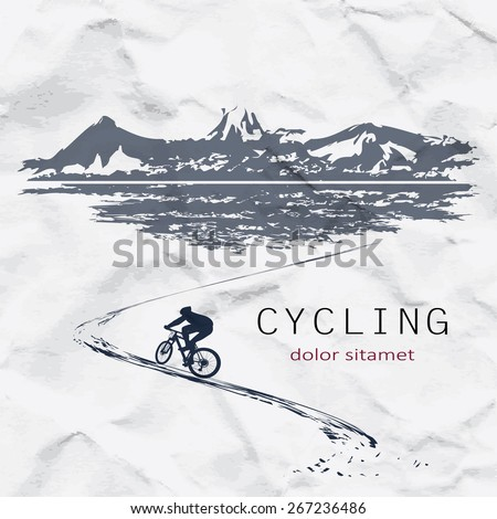 Cyclist on the background of crumpled paper - stock vector