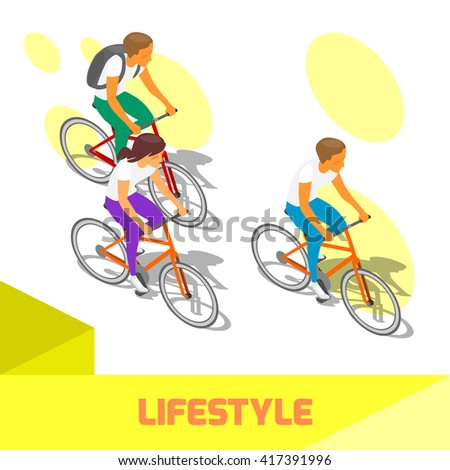 Cyclists riding bike vector illustration isometric  lifestyle activity