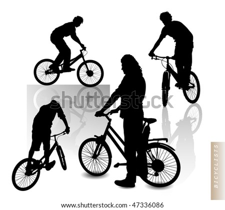 Cyclists - silhouette vector clip-art