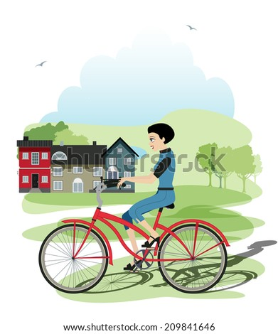 Cyclists who had a house in the background. - stock vector