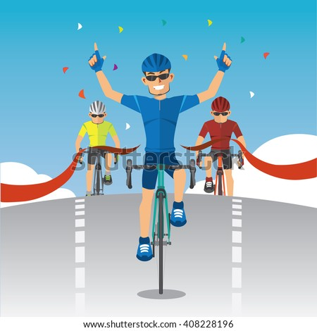 Cyclists winner biking road bicycle across the finish line. - stock vector