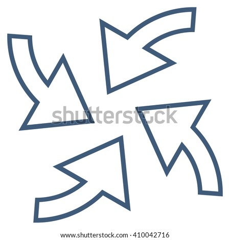 Cyclone Arrows vector icon. Style is outline icon symbol, blue color, white background. - stock vector