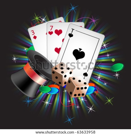 Cylinder, dice and cards on a shimmering background