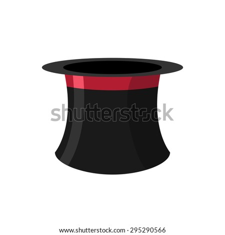 Cylinder magicians on a white background. Black Hat Topper with Red Ribbon. Old headdress for men. Vector illustration.