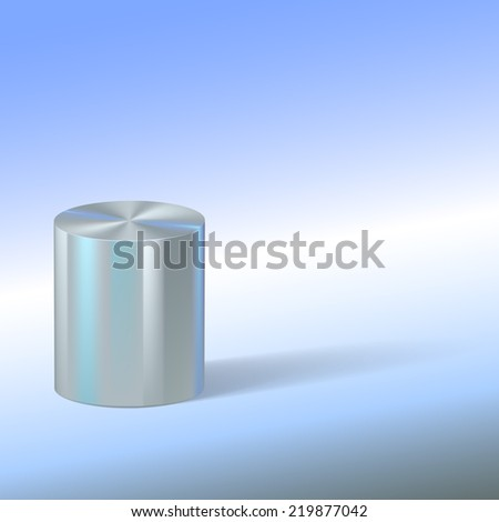 Cylinder with reflections on colored background. Basic geometrical form. Vector illustration. - stock vector