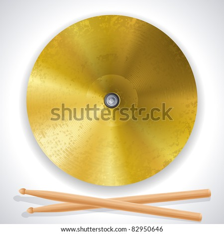 cymbals and drumsticks - stock vector