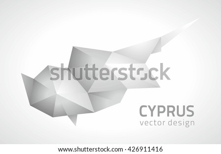 Cyprus grey vector polygonal map