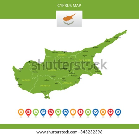 Cyprus Map - stock vector