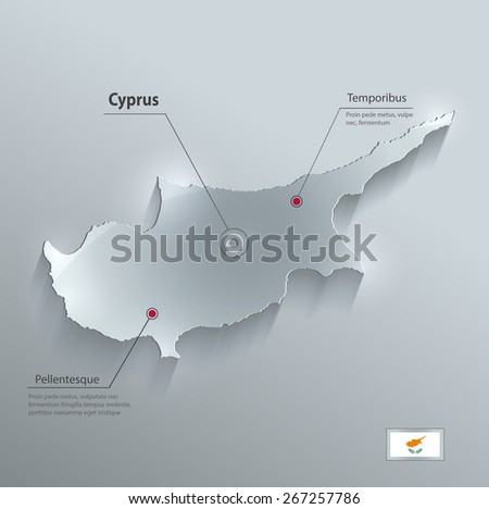 Cyprus map flag glass card paper 3D raster - stock vector