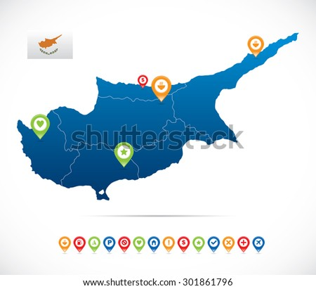 Cyprus Map with Navigation Icons - stock vector