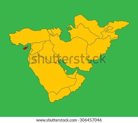 Cyprus vector map silhouette illustration isolated on Middle east vector map. - stock vector
