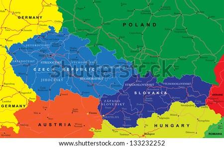 Czech and Slovak Republics map - stock vector
