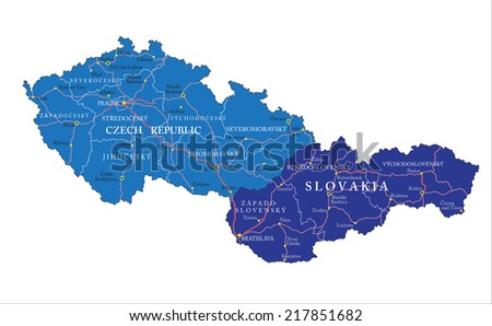 Czech Republic and Slovakia map - stock vector
