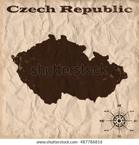 Czech Republic old map with grunge and crumpled paper. Vector illustration