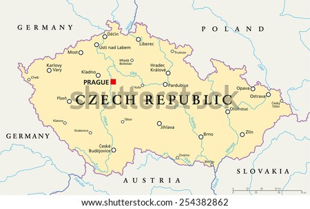 czech republic political map with capital prague national borders important cities rivers and