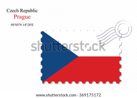 czech republic stamp design over stripy background, abstract vector art illustration, image contains transparency - stock vector