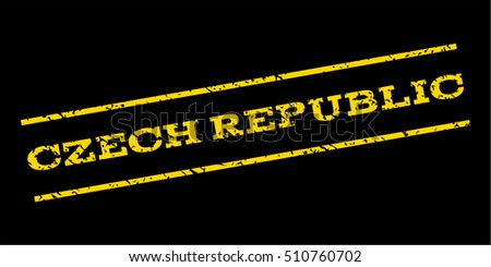 Czech Republic watermark stamp. Text tag between parallel lines with grunge design style. Rubber seal stamp with scratched texture. Vector yellow color ink imprint on a blue background.