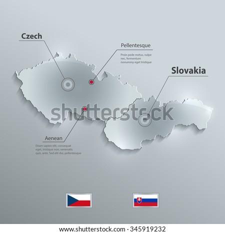 Czech Slovakia map flag glass card paper 3D vector Czechoslovakia separate maps - stock vector