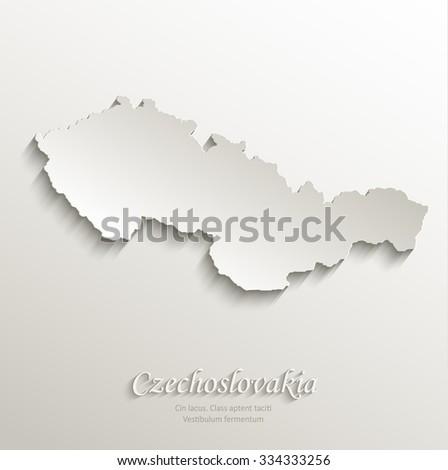 Czechoslovakia map card paper 3D natural vector - stock vector