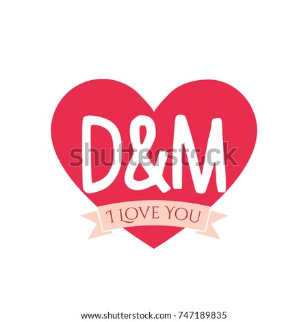 D And M Letter Inside Heart For St Valentines Day Design