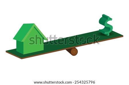 d illustration of house and dollar sign on nature board scale, over white background