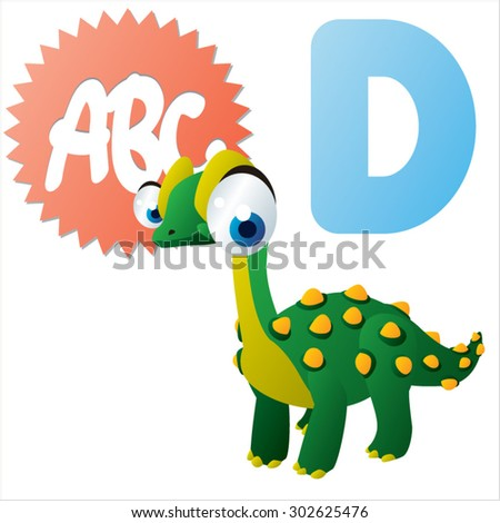 D is for Dinosaur - stock vector