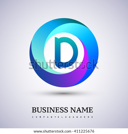 D letter colorful logo in the circle. Vector design template elements for your application or company identity. - stock vector